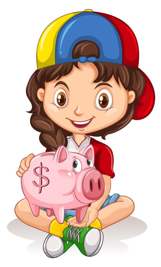 Little girl and piggy bank illustration